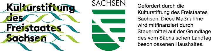 Logo Kulturstiftung des Freistaates Sachsen + sächsisches Wappen